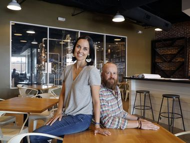 Sally and Evan Batt, co-owners of Lockwood Distilling Co. in Dallas, Texas on Thursday, October 3, 2019.