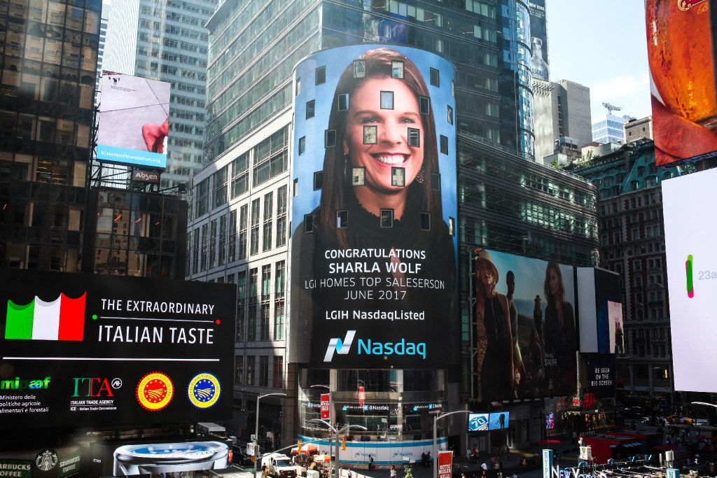 LGI Homes recognizes its top salesperson monthly by displaying his or her picture on the Nasdaq Tower in Times Square.