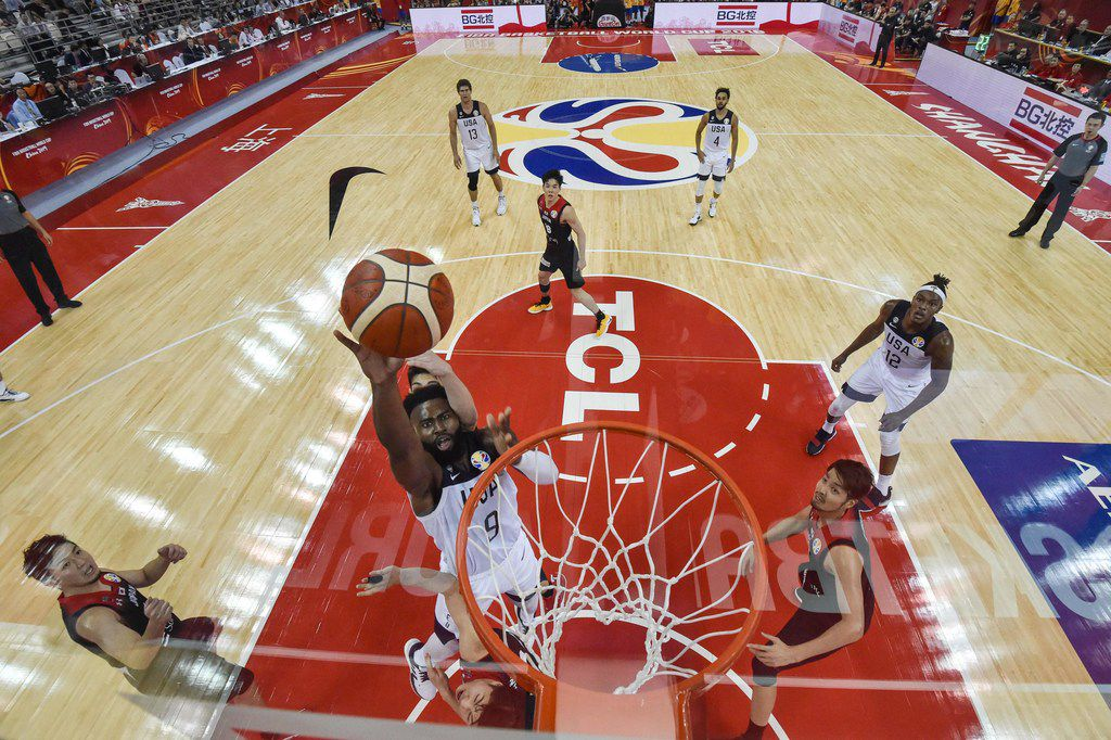 Jaylen Brown of the US takes a shot during the Basketball World Cup Group E game between US and Japan in Shanghai on September 5, 2019.