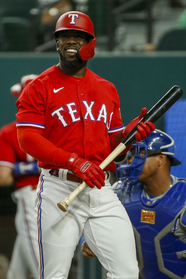 Texas Rangers center fielder Adolis Garcia (53) reacts during an appearance at the plate during the first inning against the Kansas City Royals at Globe Life Field on Friday, June 25, 2021, in Arlington. (Elias Valverde II/The Dallas Morning News)