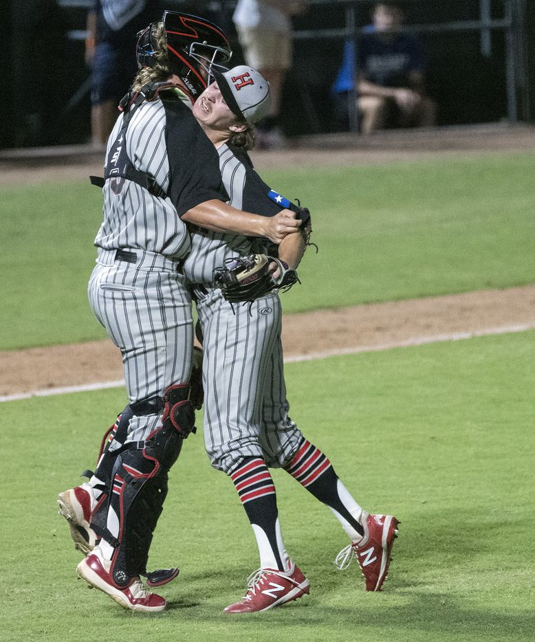 Rockwell-Heath pitcher, Baylor Baumann, (1), is hugged by catcher, Kevin Bazzell, (9), after defeating Comal Smithson Valley during the 2021 UIL 6A state baseball semifinals held, Friday, June 11, 2021, in Round Rock, Texas. Rockwell-Heath defeated Comal Smithson Valley 8-4.    (Rodolfo Gonzalez/Special Contributor)