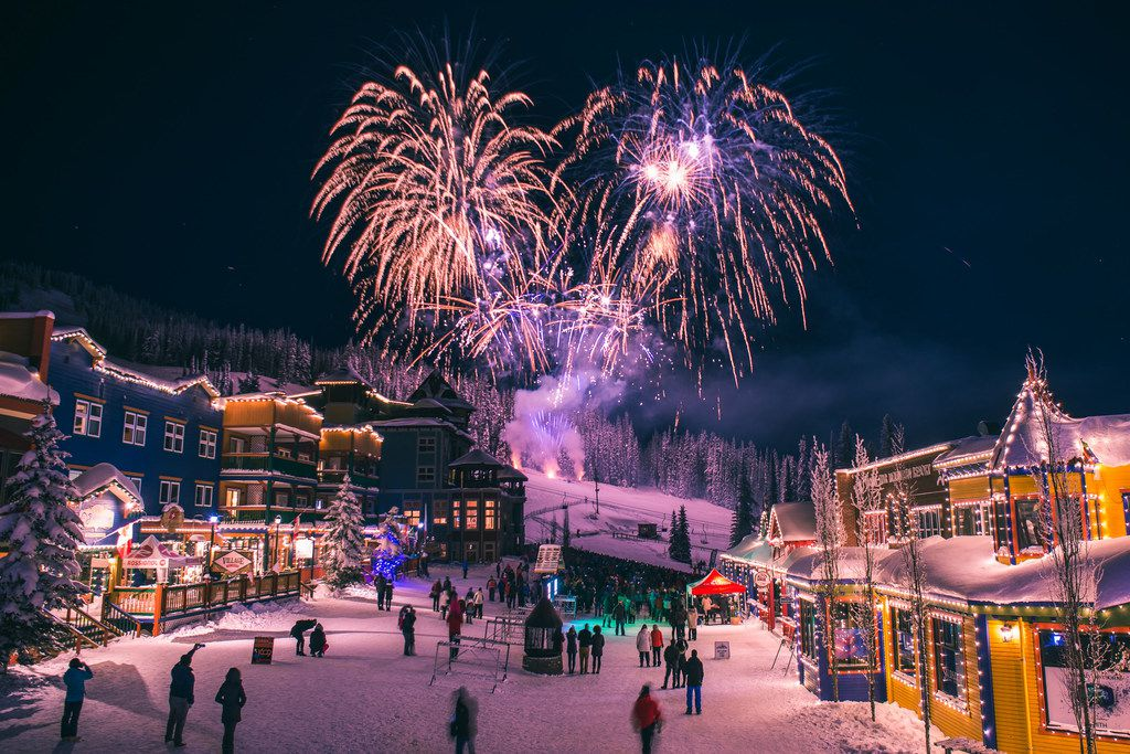 Christmas Eve fireworks are planned at Silver Star in British Columbia, where holiday happenings also include a Christmas market, an elf dance party, snowshoeing, crafts, winter wine dinners, horse-drawn sleigh rides and photos with Santa.