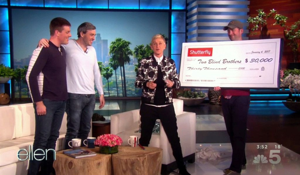 Bryan (left) and Bradford Manning got a $30,000 check from Ellen DeGeneres on her show that aired Jan. 4, 2017.
