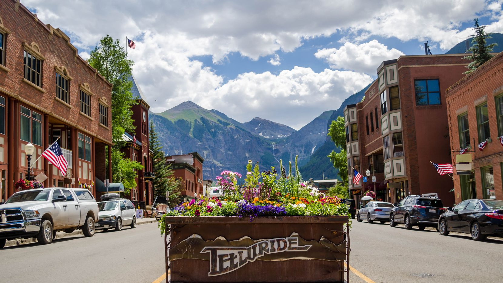 Flower box in the middle of downtown telluride