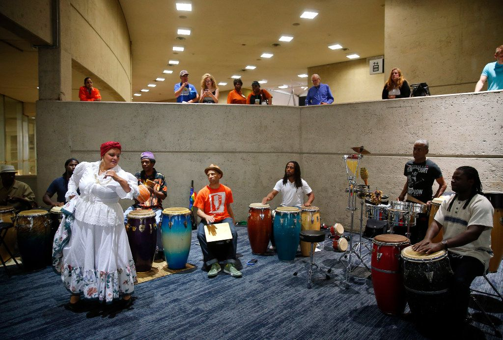 Rumba players perform Saturday during the Dallas Festival of Ideas held in the Kay Bailey Hutchison Convention Center. (Tom Fox/Staff Photographer)