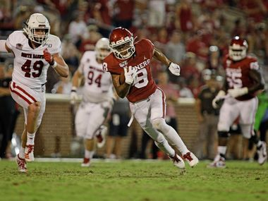 NORMAN, OK - SEPTEMBER 07: Wide receiver Trejan Bridges #8 of the Oklahoma Sooners runs upfield against the South Dakota Coyotes at Gaylord Family Oklahoma Memorial Stadium on September 7, 2019 in Norman, Oklahoma. The Sooners defeated the Coyotes 70-14. (Photo by Brett Deering/Getty Images)