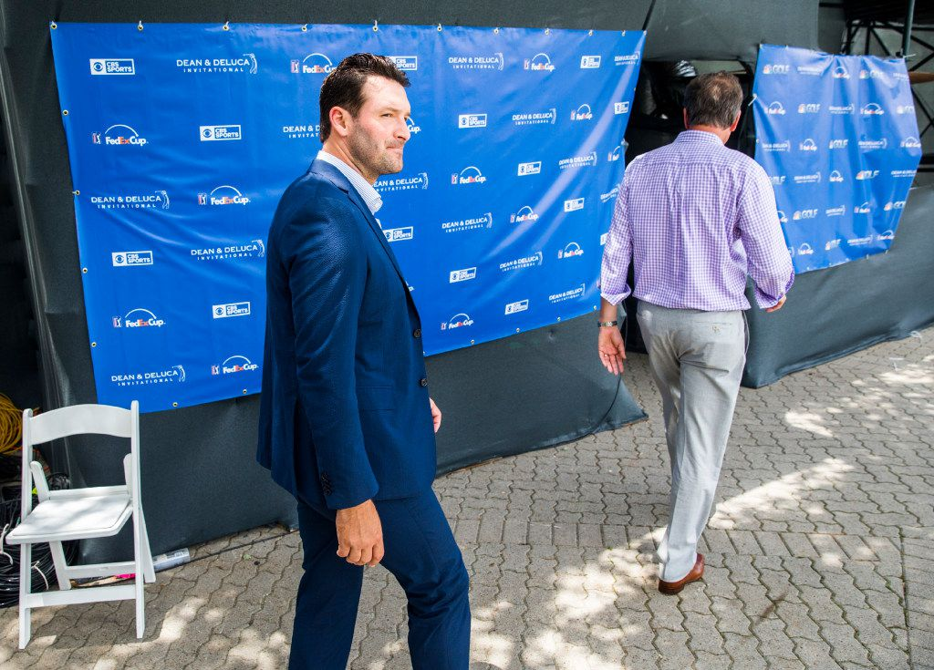 Former Dallas Cowboys quarterback Tony Romo walks to the CBS broadcast booth during round three of the Dean & Deluca Invitational golf tournament on Saturday, May 27, 2017 at Colonial Country Club in Fort Worth. (Ashley Landis/The Dallas Morning News)