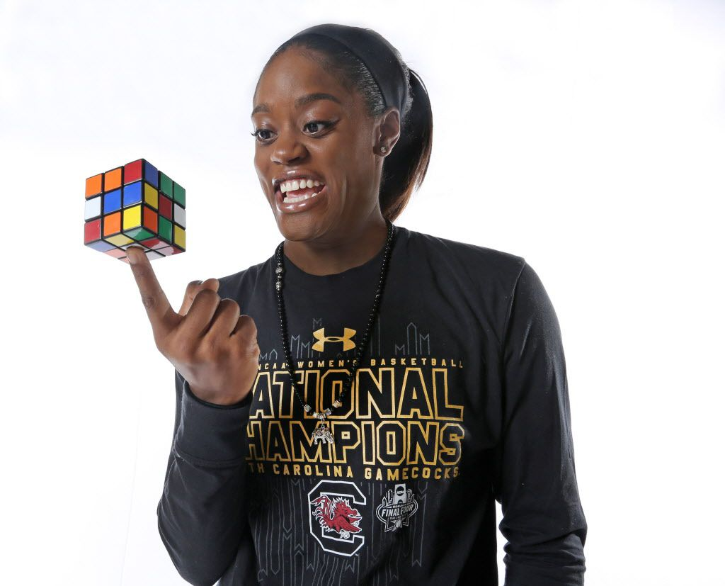 Dallas Wings guard Kaela Davis, who can solve a Rubik's Cube, is photographed at the home where she stays in Trophy Club, Texas on Monday, July 24, 2017. (Louis DeLuca/The Dallas Morning News)