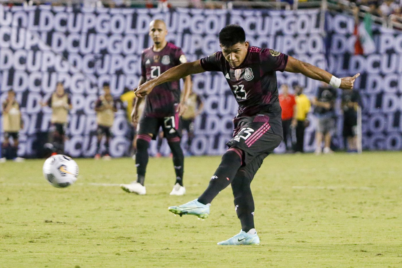 Mexico midfielder Jesús Gallardo (23) crosses the ball to a teammate during the second half of a CONCACAF Gold Cup Group A soccer match at the Cotton Bowl on Sunday, July 18, 2021, in Dallas. (Elias Valverde II/The Dallas Morning News)