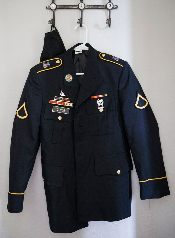 The Army uniform of Brian Clyde, 22, who opened fire on the Earle Cabell Federal Building, is seen on Wednesday, June 19, 2019 at the Plano, Texas home of Brian Clyde's father Paul. Brian Clyde was shot by officers and died in the parking lot.