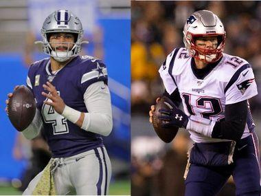 Dak Prescott (izq) y Tom Brady son parte d la conversación de cuál de los dos debe ser el mariscal de los Cowboys la próxima temporada.