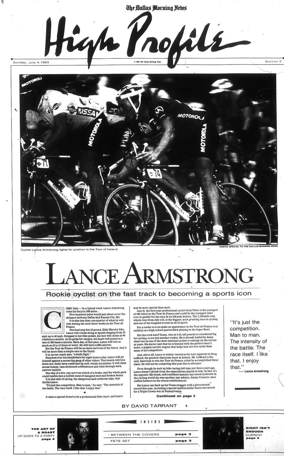 Profile of Lance Armstrong published July 4, 1993.
