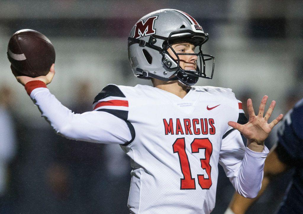 Flower Mound Marcus quarterback Garrett Nussmeier throws a pass against Flower Mound last season. (Ashley Landis/The Dallas Morning News)