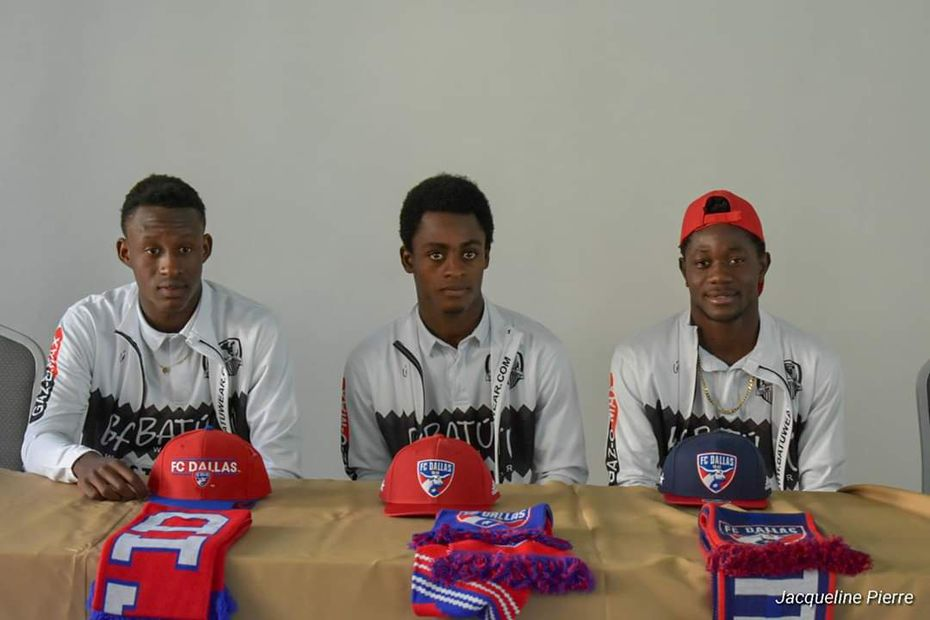 Bicou Bissainthe, Ronaldo Damus, and Valdo Etienne at the Hatian announcement of their joining FC Dallas.