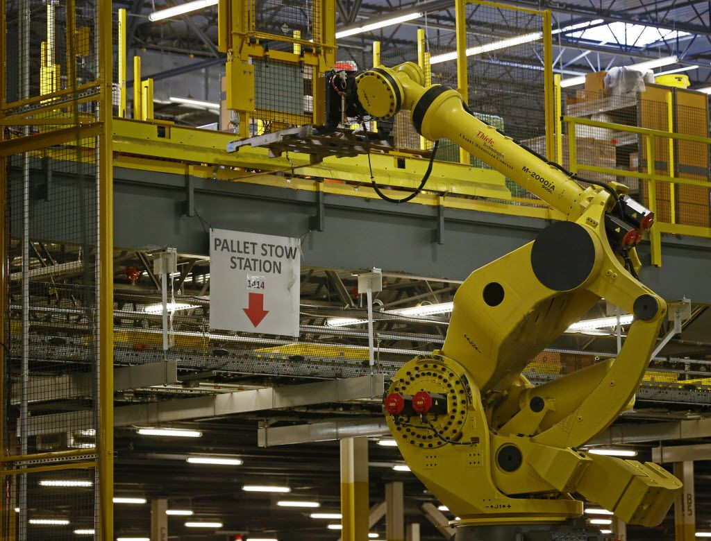 The Robo-Stow moves pallets from level to level at Amazon's fulfillment center in Coppell.