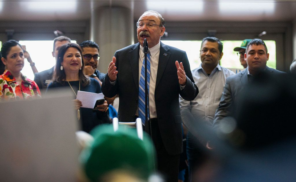 Gilberto Hinojosa speaks during a Families First Rally at the Texas Democratic Convention on Saturday, June 23, 2018 at the Fort Worth Convention Center in Fort Worth. (Ashley Landis/The Dallas Morning News)