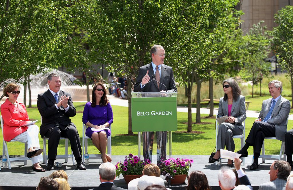 Robert Decherd speaks at the dedication ceremony for Belo Garden in May 2012.