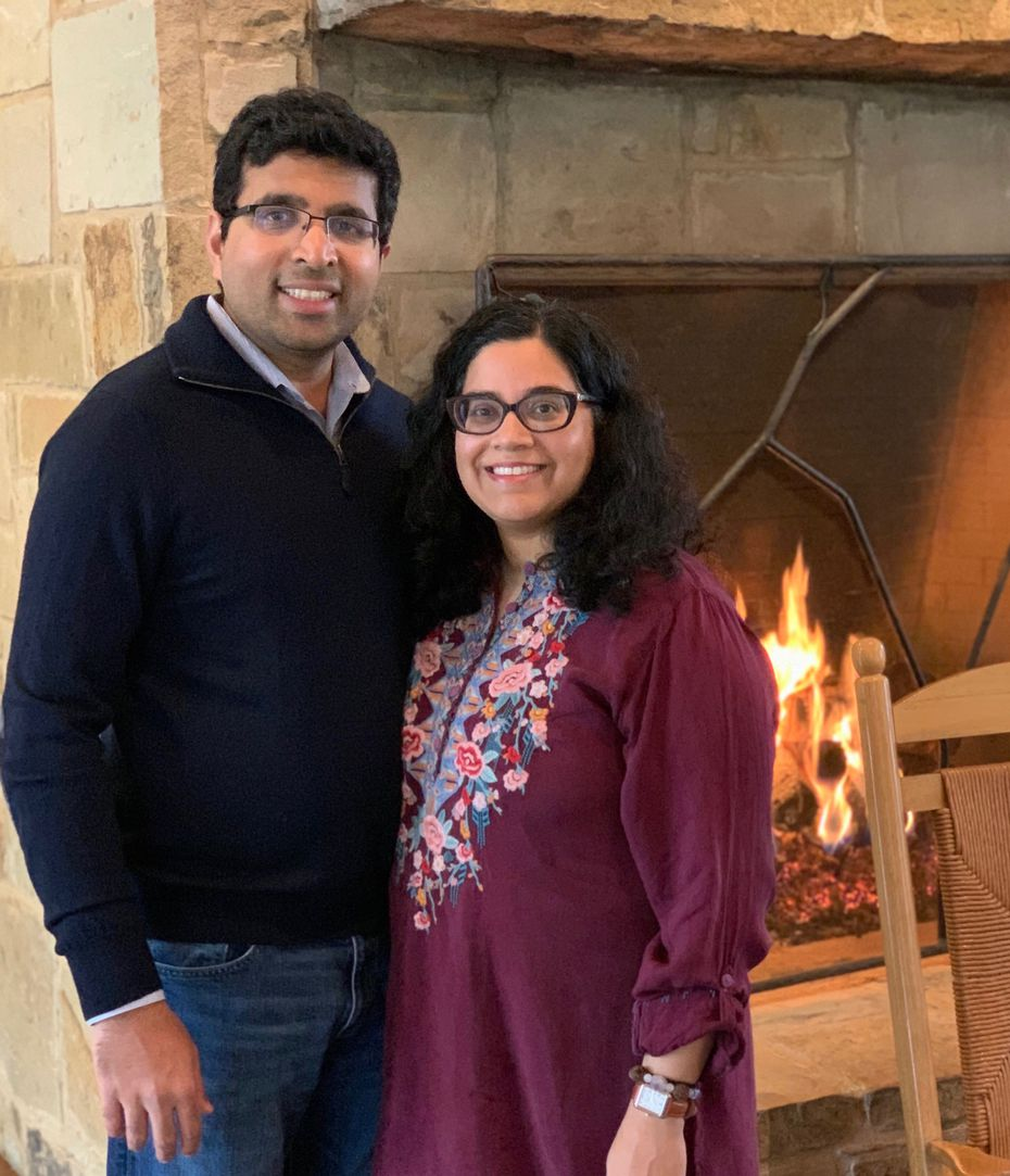 Pramod Vemulapalli (left) and Neel Gonuguntla are used to having large holiday gatherings with extended family, but this year they will keep it small by visiting Gonuguntla's parents in Houston for a dinner of four. The couple plan to quarantine for two weeks before they go.