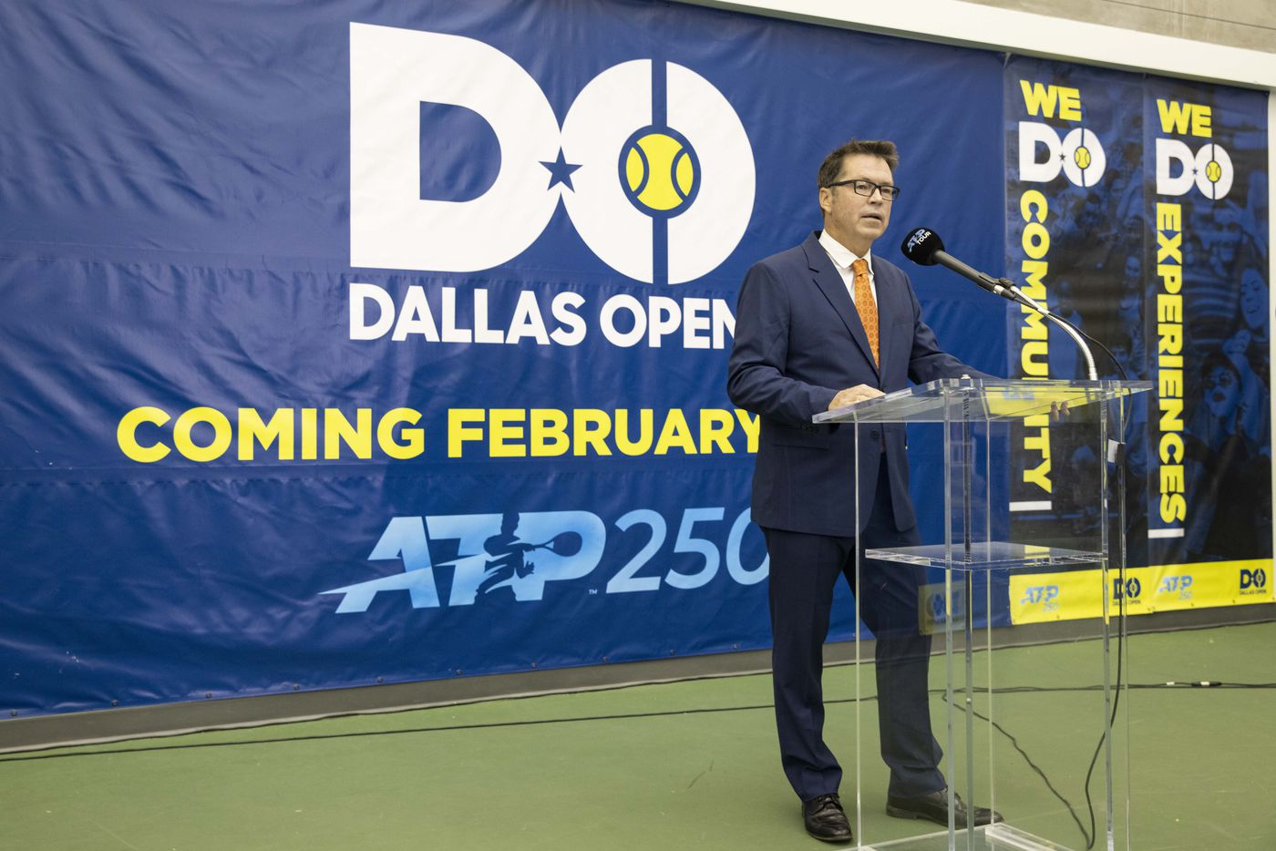 Tournament director Peter Lebedevs speaks during a press conference to announce a new ATP tennis tour event coming to Dallas at the SMU Styslinger/Altec Tennis Complex on Wednesday, May 19, 2021, in Dallas. (Juan Figueroa/The Dallas Morning News)