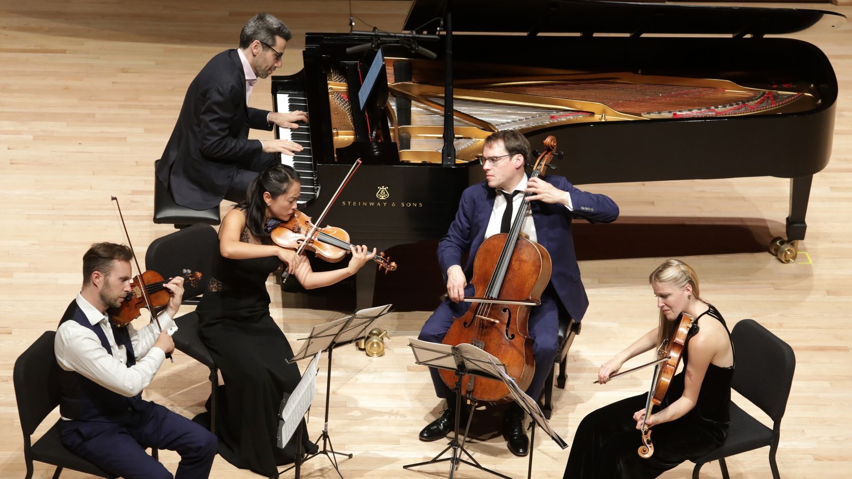 Doric String Quartet, with pianist Jonathan Biss, performs at SMU's Caruth Auditorium in Dallas on Oct. 11, 2021.