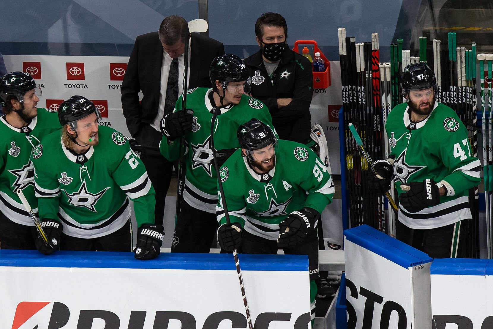 Tyler Seguin (91) of the Dallas Stars celebrates a goal on the bench against the Tampa Bay Lightning during Game Four of the Stanley Cup Final at Rogers Place in Edmonton, Alberta, Canada on Friday, September 25, 2020.