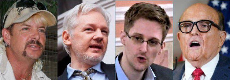 "From left: ""Joe Exotic,"" aka the ""Tiger King,"" WikiLeaks founder Julian Assange, former intelligence employee Edward Snowden and Trump attorney Rudy Giuliani."