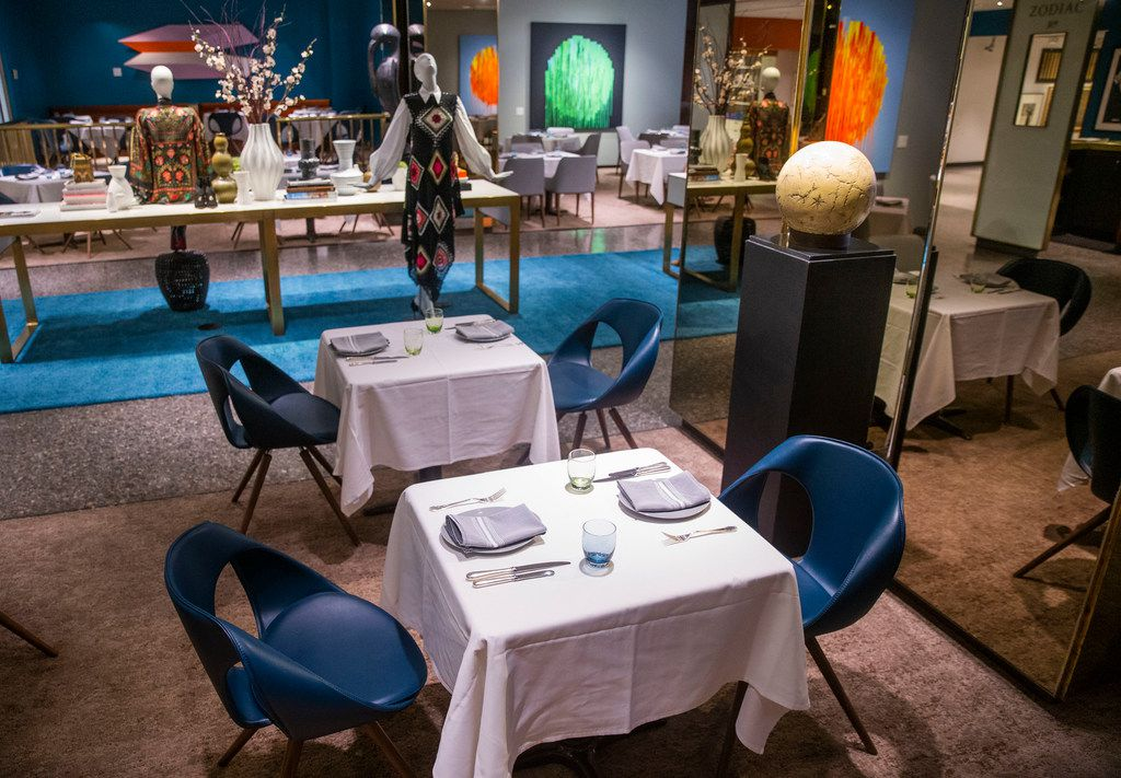 The Zodiac Room in Neiman Marcus downtown, photographed before opening hours, completed a glam makeover earlier this summer.