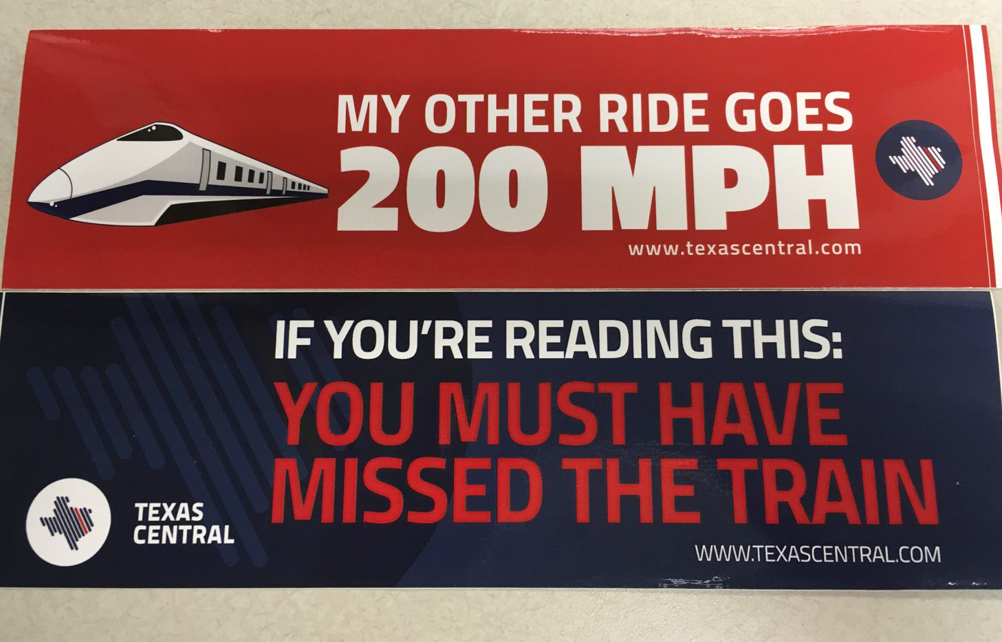 Backers of a bullet train between Dallas and Houston have used various marketing slogans to promote their project.
