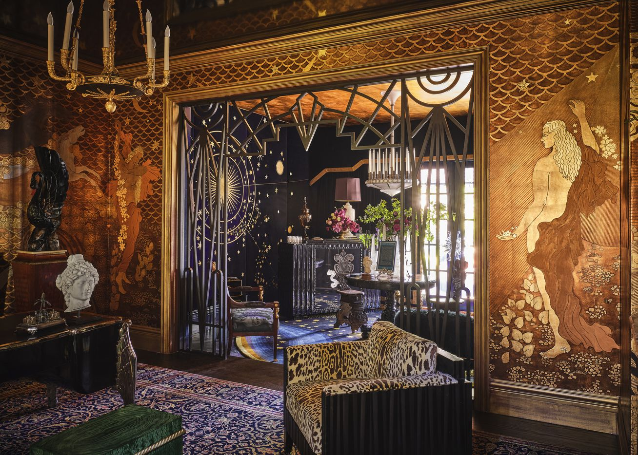 A downstairs study and lounge at the 2021 Kips Bay Decorator Show House Dallas was designed by Ken Fulk Inc. and has striking, hand-crafted and custom wall coverings by luxury wallpaper creator de Gournay.