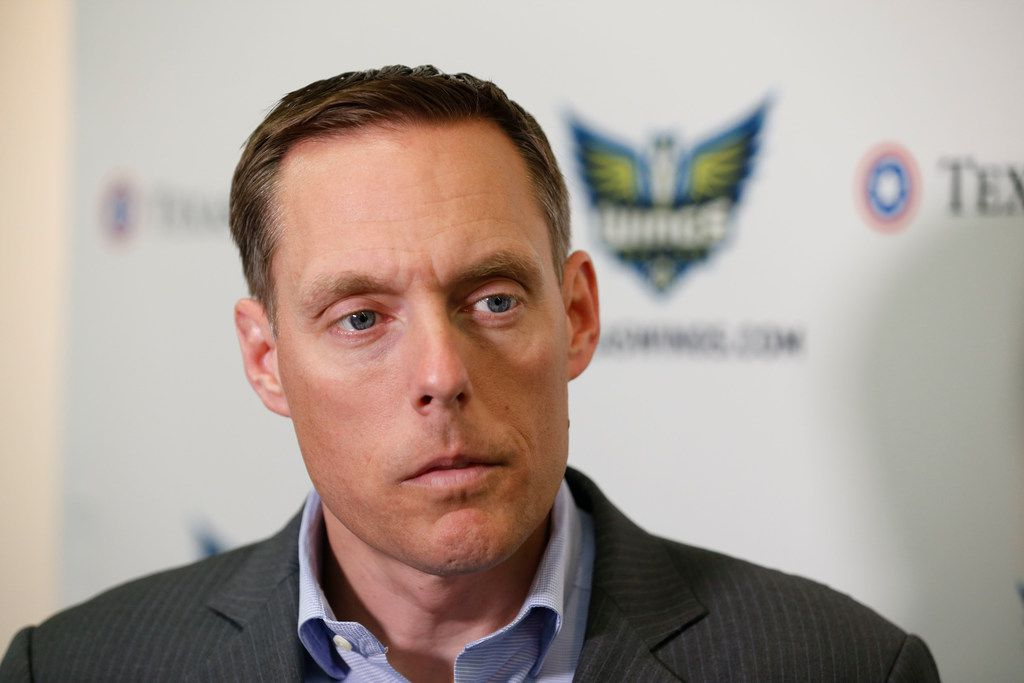 Dallas Wings President and CEO Greg Bibb talks to the media prior to the Dallas Wings Draft Night Live in Arlington, Texas on April 10, 2019. The WNBA team took Notre Dame guard Arike Ogunbowale with the 5th pick in the draft.