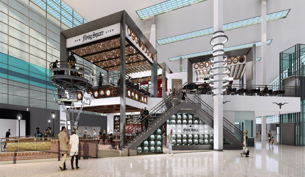 The Flying Saucer at DFW International Airport will be two stories. The mezzanine is a new concept, the Flying Square, which is expected to host live bands.