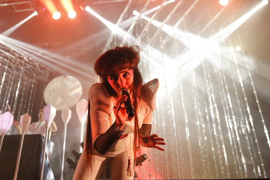 Megan James of the band Purity Ring performs for the crowd at the Bomb Factory in Dallas on Friday, May 22, 2015.