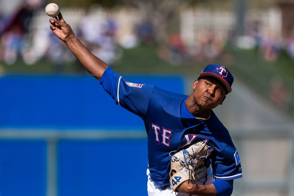Texas Rangers pitcher José Leclerc pitches during the fifth inning of a spring training baseball game against the Chicago Cubs on Wednesday, Feb. 27, 2019, in Surprise, Ariz.. (Smiley N. Pool/The Dallas Morning News)