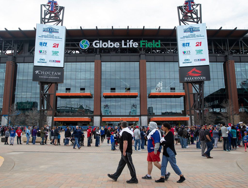 The exterior of Globe Life Field during the Rangers' Peek at the Park fanfest on Jan. 25, 2020 in Arlington.