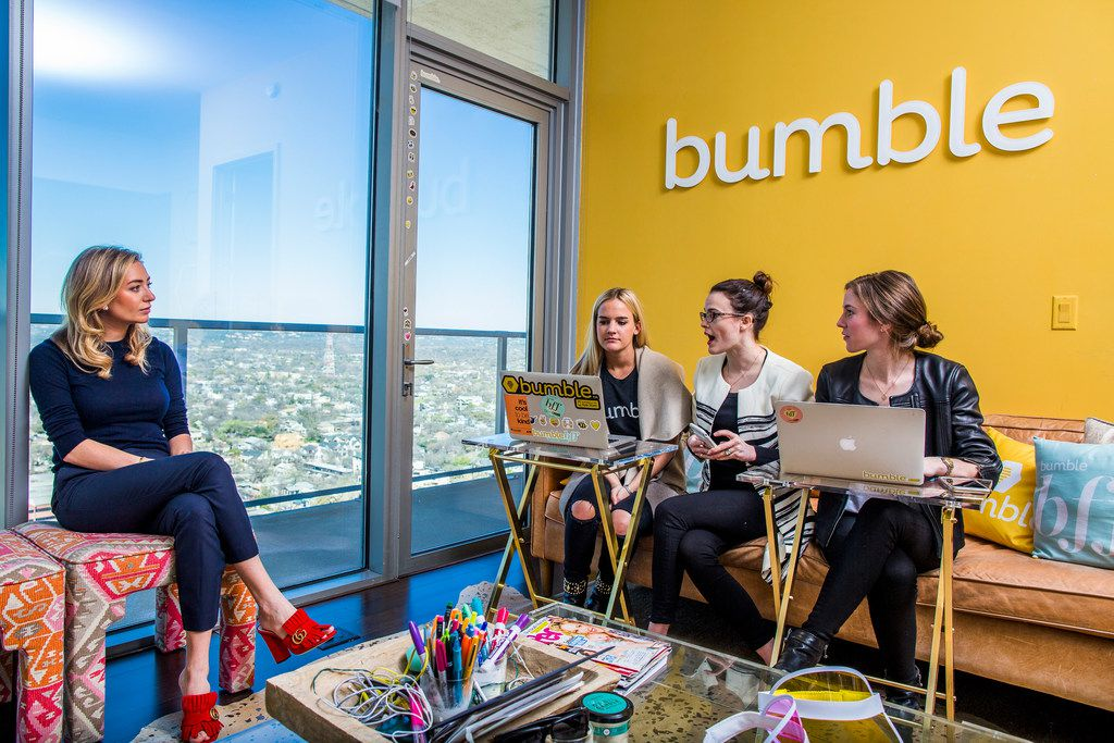 Whitney Wolfe Herd meets with staffers at the offices of Bumble in Austin in 2017.