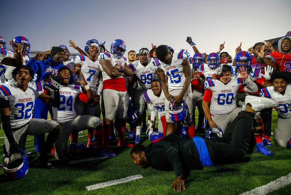 The Duncanville Panthers celebrate a win over Rockwall in the Class 6A Division I state semifinal football matchup on Saturday, Dec. 14, 2019 at McKinney ISD Stadium in McKinney, Texas.