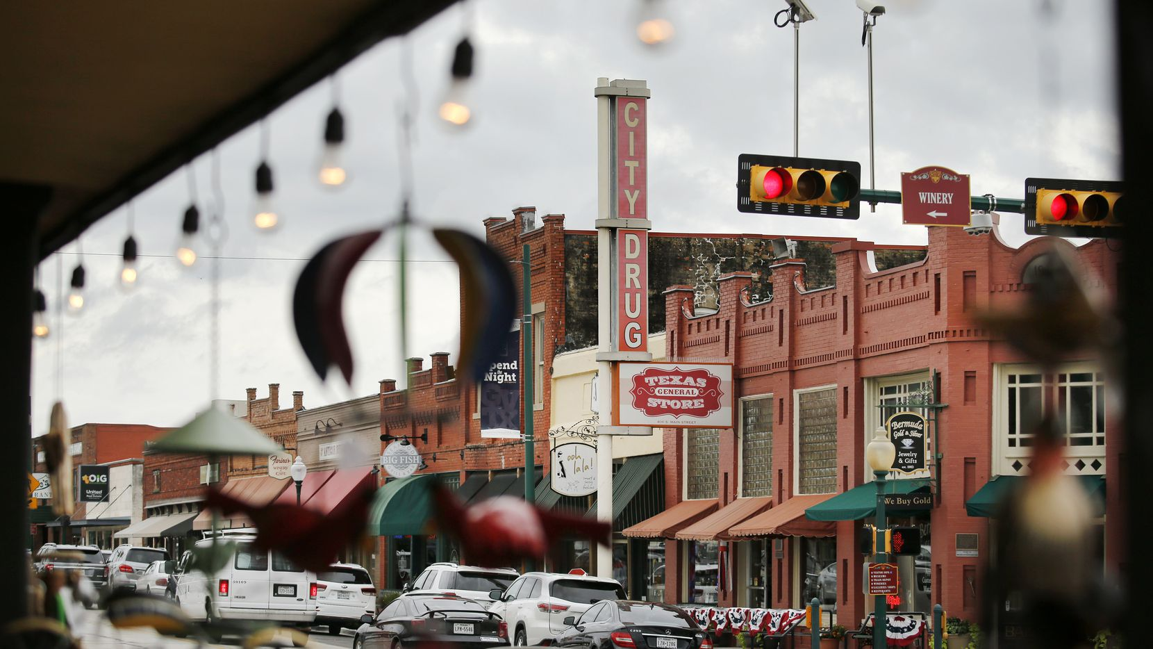A view of historic downtown Grapevine, Texas, from Grapevine's Market on Main, Tuesday, June 23, 2020. (Tom Fox/The Dallas Morning News)