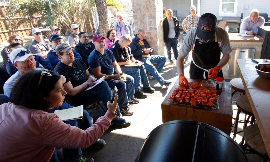 Matt Pittman shares a valuable lesson in the importance of seasoning and precooking preparations at his Meat Master barbecue class.