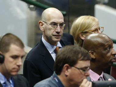 NBA Commissioner Adam Silver in attendance at the game between the Dallas Mavericks and Houston Rockets during the first half of game 3 of the first round of the NBA playoffs at American Airlines Center in Dallas on Friday, April 24, 2015. (Vernon Bryant/The Dallas Morning News)