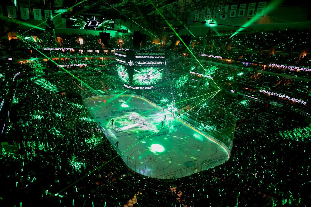 Dallas Stars players are introduced during game 3 of an NHL second round playoff series at American Airlines Center in Dallas on Monday, April 29, 2019. (Shaban Athuman/Staff Photographer)