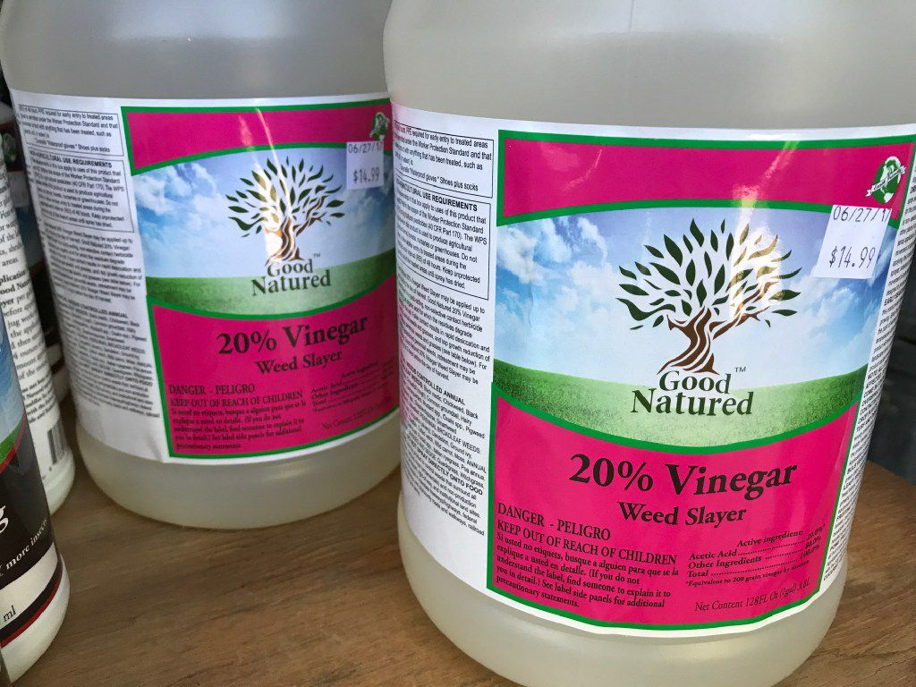 20 percent vinegar labeled for organic weed control.