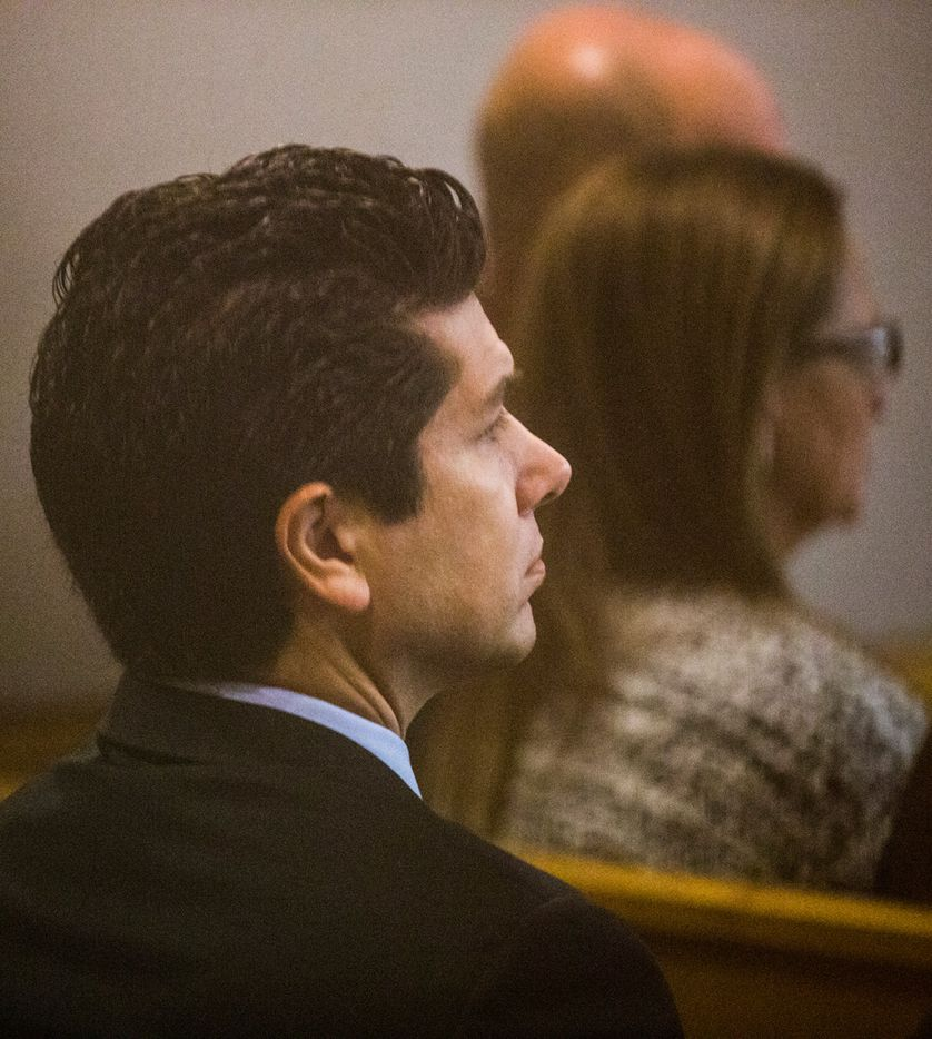 Ricardo Paniagua listens during the punishment phase of a capital murder trial for Kristopher Love on Tuesday, October 30, 2018 at the Frank Crowley Courts Building in Dallas. The fatal shooting was allegedly orchestrated by jilted lover, Brenda Delgado, who was jealous Hatcher was dating Paniagua, Delgado's ex-boyfriend. Love was convicted in the 2015 murder of pediatric dentist Kendra Hatcher. He could face the death penalty. (Ashley Landis/The Dallas Morning News)
