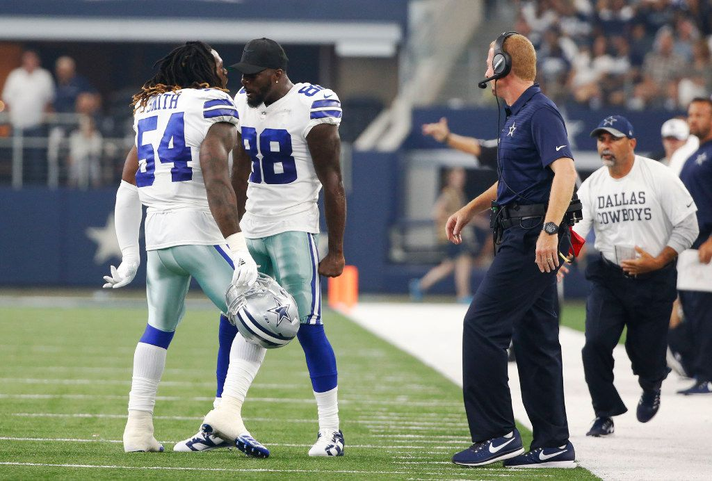 Dallas Cowboys outside linebacker Jaylon Smith (54) celebrates with Dallas Cowboys wide receiver Dez Bryant (88) after forcing the Indianapolis Colts to punt during the first half of a preseason game at AT&T Stadium in Arlington on Saturday, August 19, 2017. (Vernon Bryant/The Dallas Morning News)