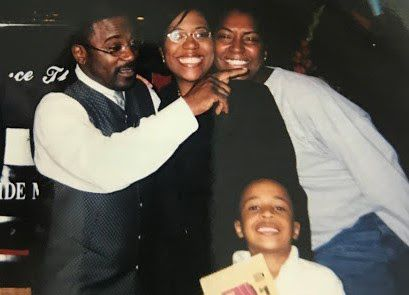 Marcus Bell Jr. (front) and his mother, Donna Fields (center), in a photo from about 2003 with Pastor Rickie Rush and a friend. Fields says Rush tried to position himself as a father figure to her and her sister before he sexually abused them.
