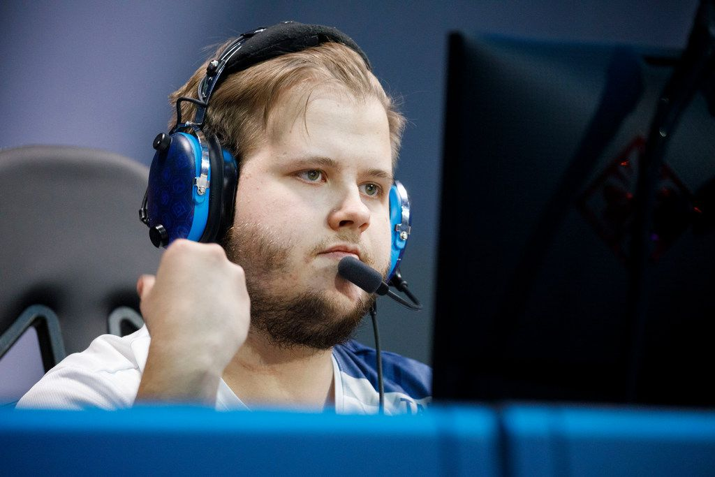 """Timo Kettunen - """"Taimou"""" during the Overwatch League match between the Dallas Fuel and Guangzhou Charge on Sunday, August 18, 2019 at Blizzard Arena in Burbank, CA. (Photo by Patrick T. Fallon/Special Contributor to The Dallas Morning News)"""