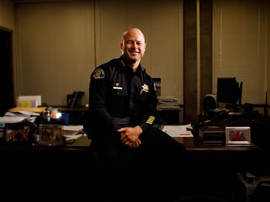 A portrait of San Jose police chief Eddie Garcia in his office in San Jose, Calif., on Monday, Aug. 3, 2020.