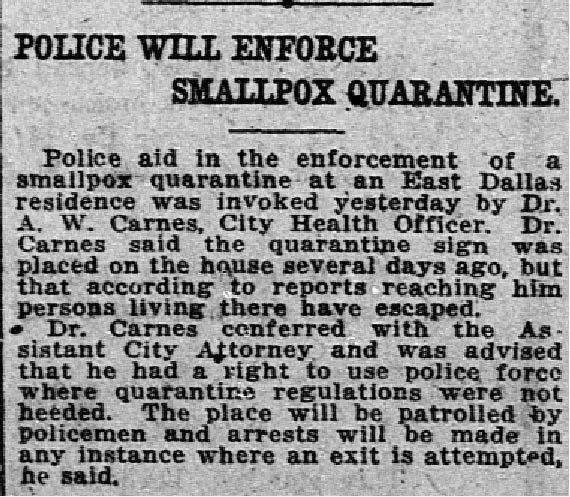 Article describing police enforcing quarantine by arresting escapees-1886