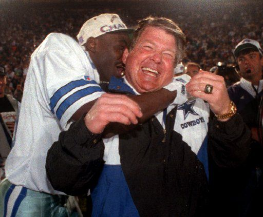 Super Bowl 1993 — Cowboys coach Jimmy  Johnson gets a big hug from wide reciever Michael Irvin following  their blowout Super bowl victory over the Buffalo Bills. (Dallas Morning News file photo)