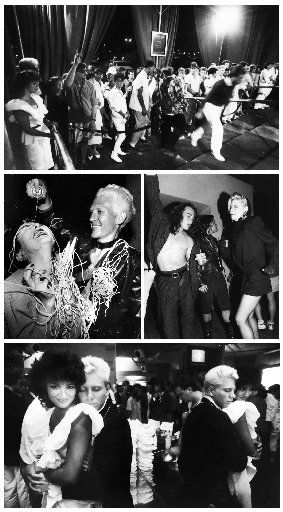 Top: The waiting line outside the Starck Club on Aug. 4, 1985. (William Snyder/Staff Photographer); Middle Left: Claudine King gets sprayed by fellow Starck Club staffer Howard Smith on the night of its final party, July 11, 1989 at the end of its first five-year run. (Erich Schlegel/Staff Photographer); Middle Right: A party at the club on June 23, 1990 after it was reopened. (Erich Schlegel/Staff Photographer); Bottom: James Jensen and Sandra Roumimper at the Starck Club on Aug. 4, 1985. (William Snyder/Staff Photographer)