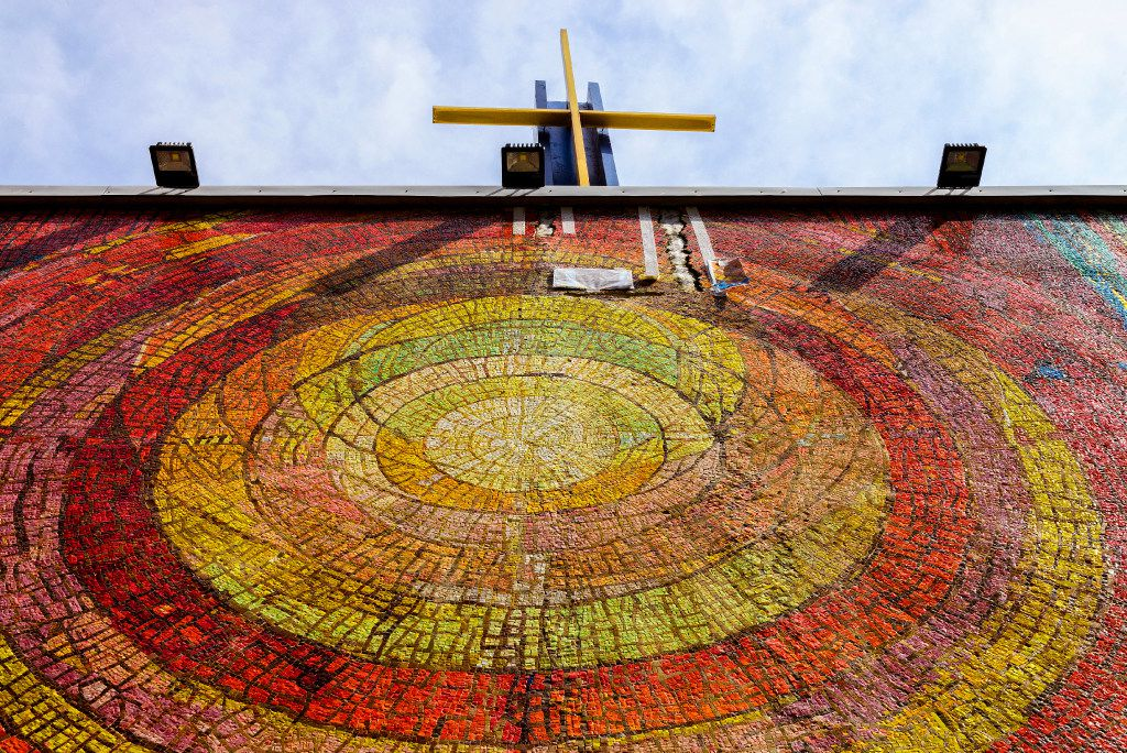 Just a small fracture remains to be fixed on the mosaic at St. Jude Chapel in Dallas Credit: Danny Fulgencio